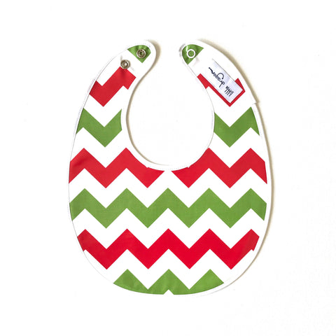 Little Dragon by Lauren Unlimited green, red and white chevron laminated cotton baby bib