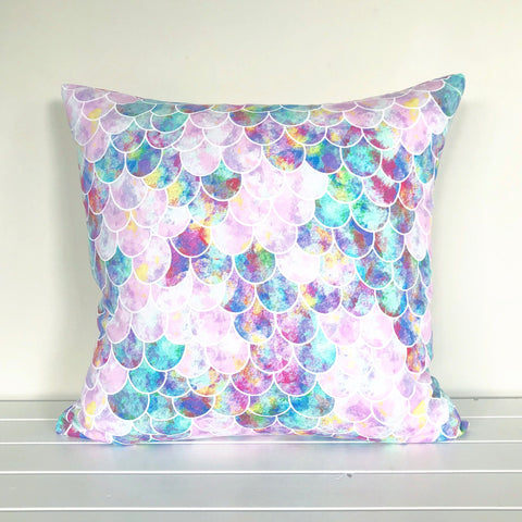Pink, Aqua and Blue Mermaid Scales Cushion Cover