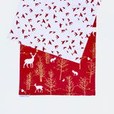 Christmas Table Runner in Red with Metallic Gold Trees and Woodland Animals, with Red Birds on White
