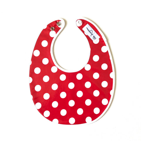 Little Dragon by Lauren Unlimited red and white polka dot laminated cotton baby bib