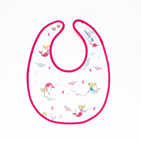 White, Pink and Aqua Mermaid and Narwhal Laminated Cotton Bib