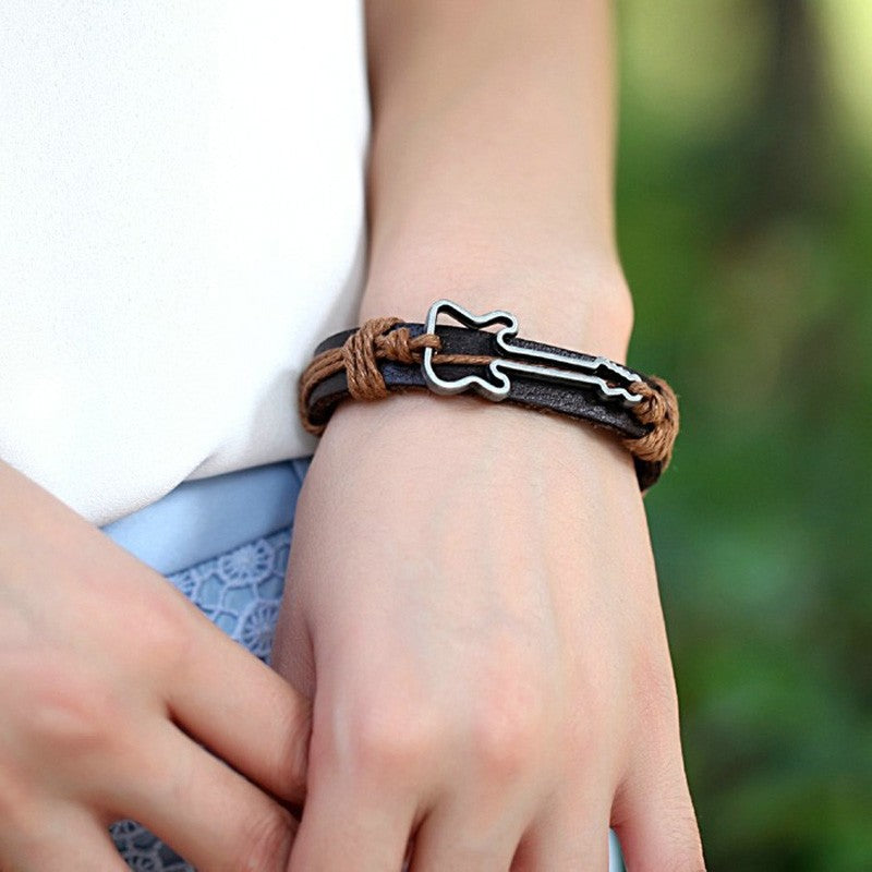 Genuine Leather Hollow Guitar Bracelet