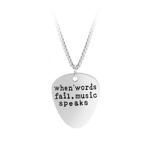 When Words Fail Music Speaks Hand Stamped Guitar Pick Pendant Necklace