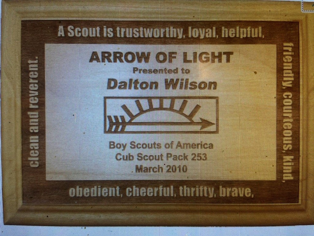 Arrow Of Light Red Alder Wood Plaque - Engraved Effects