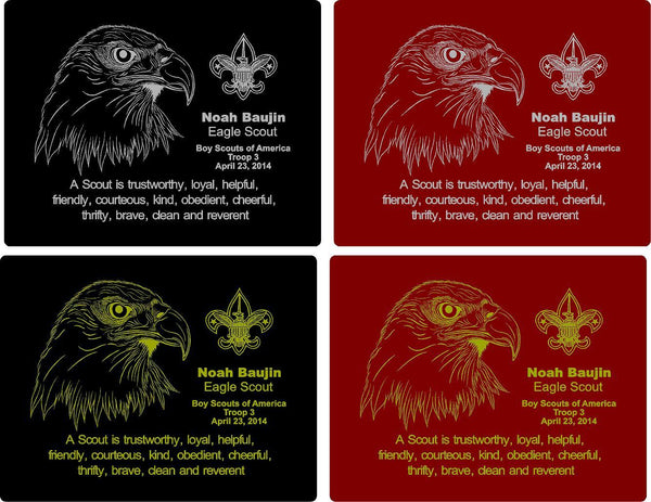 Rosewood Eagle Scout Plaque - Engraved Effects