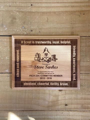 Cub Scout Leader Plaque D2 - Engraved Effects