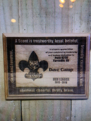 Cub Scout Leader Red Alder Wood Plaque - Engraved Effects