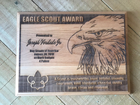 Eagle Scout Plaque Red Alder Wood Plaque D2 - Engraved Effects