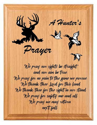 A Hunter's Prayer Sign Plaque - Engraved Effects