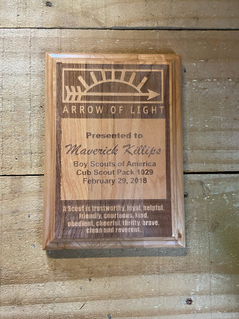 Arrow of Light Wood Plaque - Engraved Effects