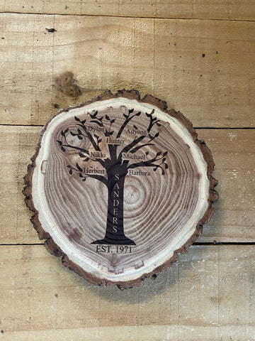 Family Tree Personalized Rustic Sign - Engraved Effects