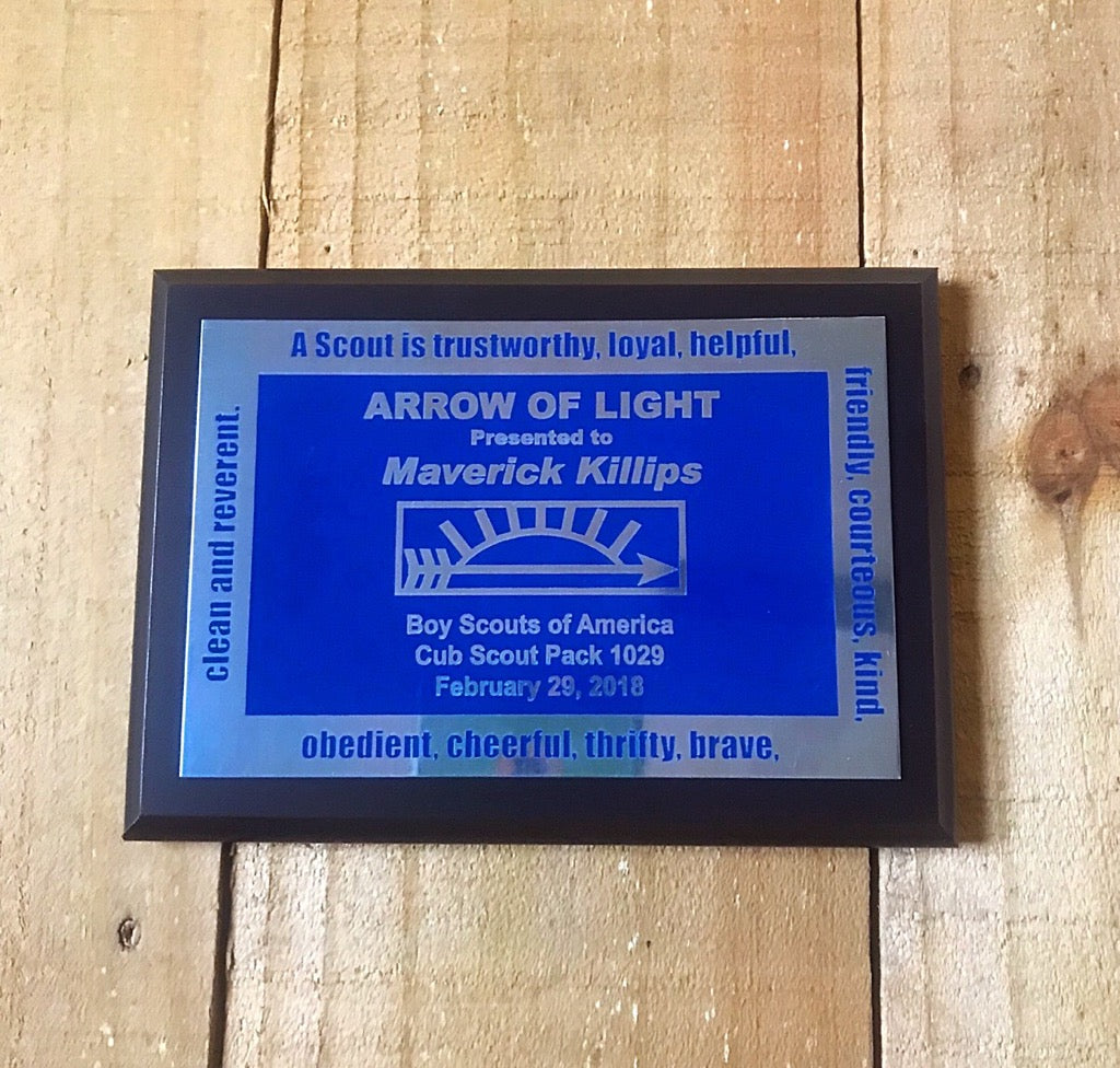 Arrow of Light Standard Plaque - Engraved Effects