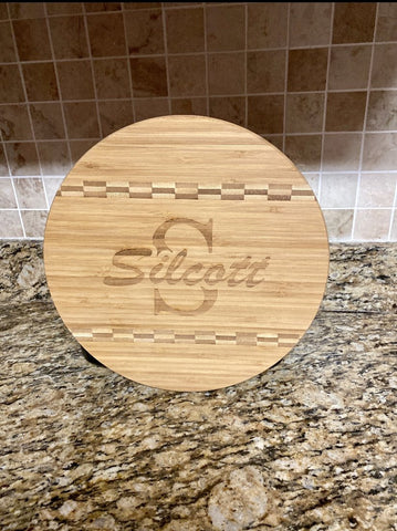 Round Bamboo Cutting Board Personalized - Engraved Effects