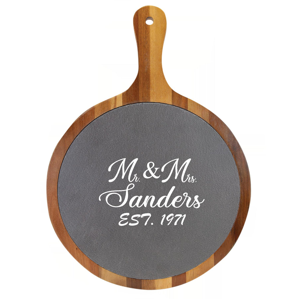 Personalized Round Wood and Slate Cutting Board With Handle - Engraved Effects