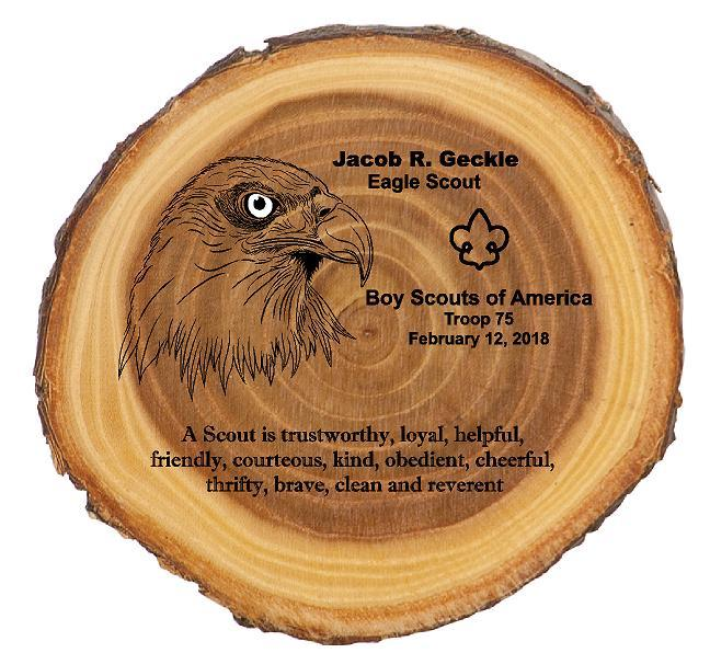 Eagle Scout Round Rustic Wood Plaque - Engraved Effects