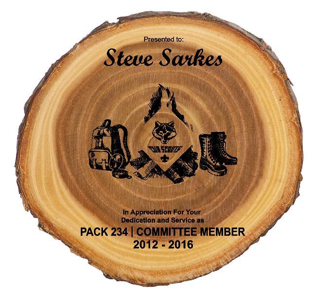 Cub Scout Leader Rustic Round Wood Plaque - Engraved Effects