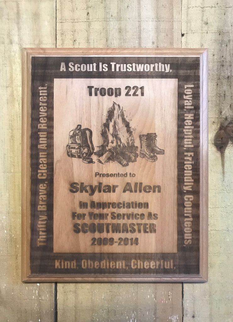Boy Scout Leaded Red Alder Plaque - Engraved Effects