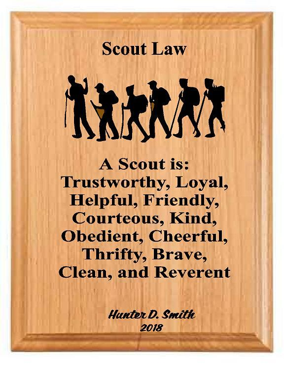 Scouts Law Wood Plaque - Engraved Effects