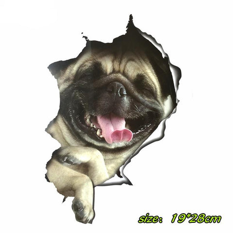 3D pug dog car Stickers
