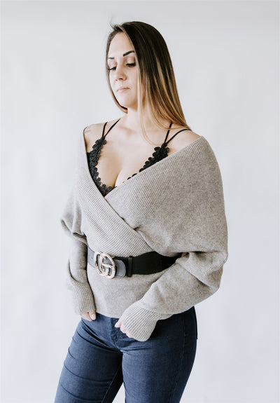 HEAVY ON THE MOCHA CROSS BODY SWEATER