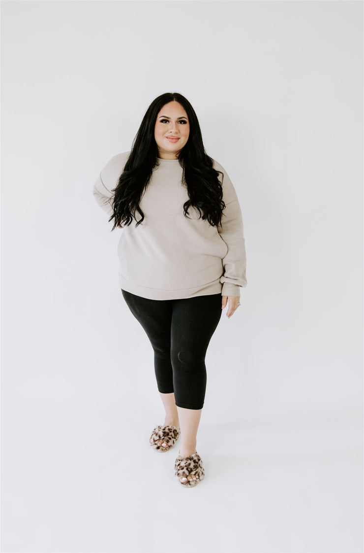 CURVY HOMEBODY COTTON SWEATSHIRT