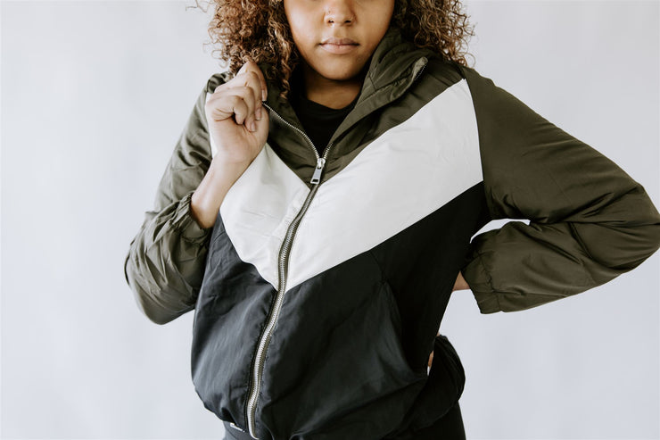 CURVY WINTER WEATHER OLIVE HOODED JACKET