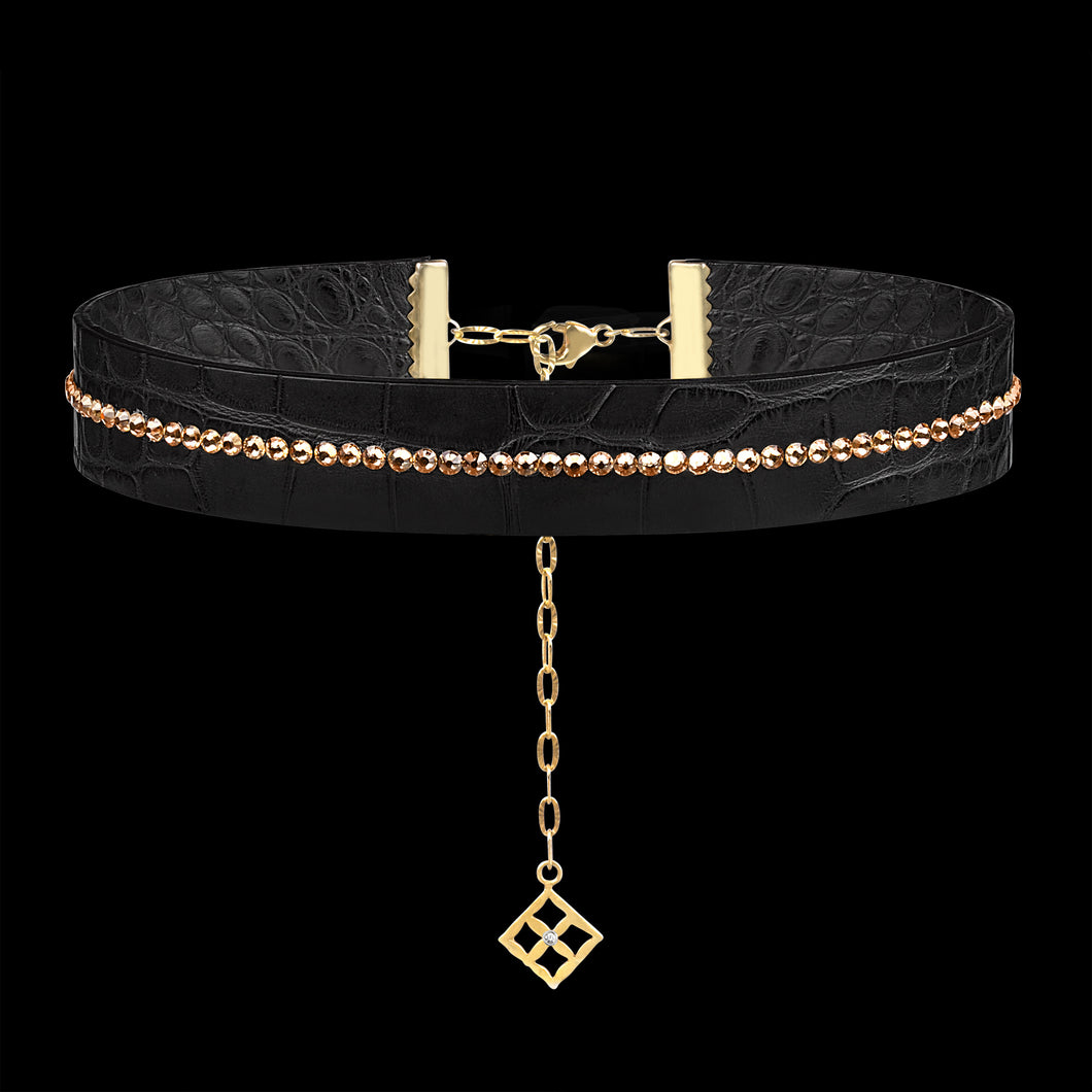 Alona New York Black Alligator Choker Necklace