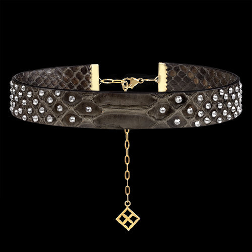 Alona New York Gray Python Choker Necklace with Swarovski®