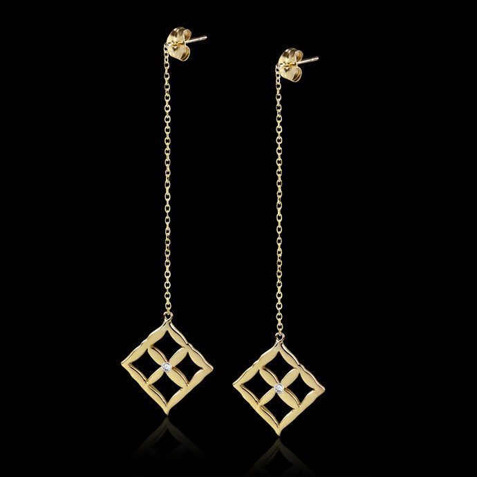 Alona New York gold and diamond drop earrings