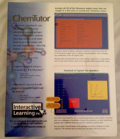 ChemTutor Interactive Educational Software-DVD-Palm Beach Bookery