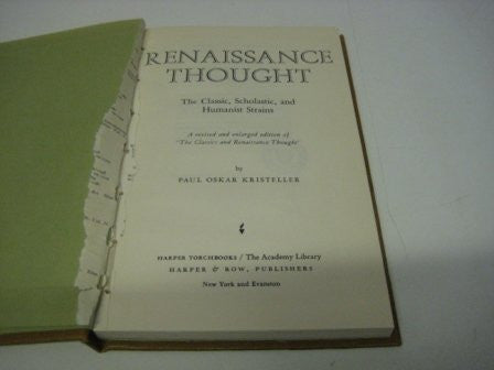 Renaissance Thought : the Classic, Scholastic and Humanist Strains / by Paul Oskar Kristeller-Book-Palm Beach Bookery
