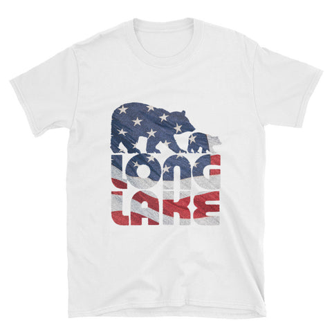 Long Lake Logo. Long Lake American Flag T-Shirt. Adirondack Apparel