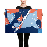 Long Lake Map Canvas Wall Art | Blue Coral Canvas Print | Adirondack Home Goods