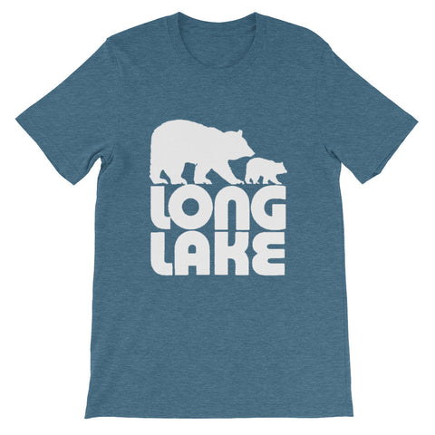 Long Lake Logo. Long Lake NY Heather Blue T-Shirt. Adirondack Apparel