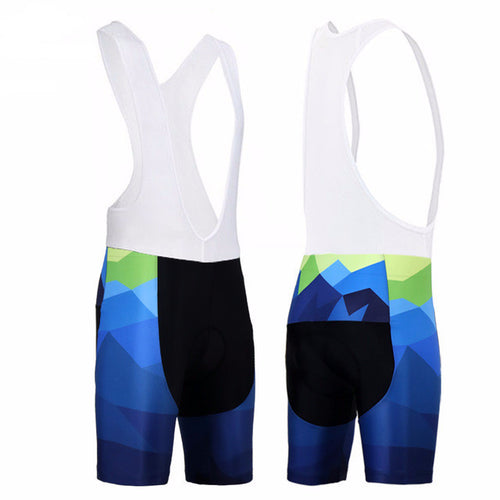 SIILENYOND Cycling Bib Shorts (Blue/Green Geometric)