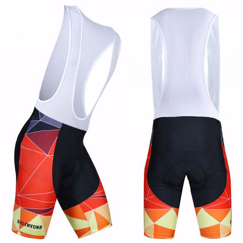 SIILENYOND Cycling Bib Shorts (Orange Geometric)