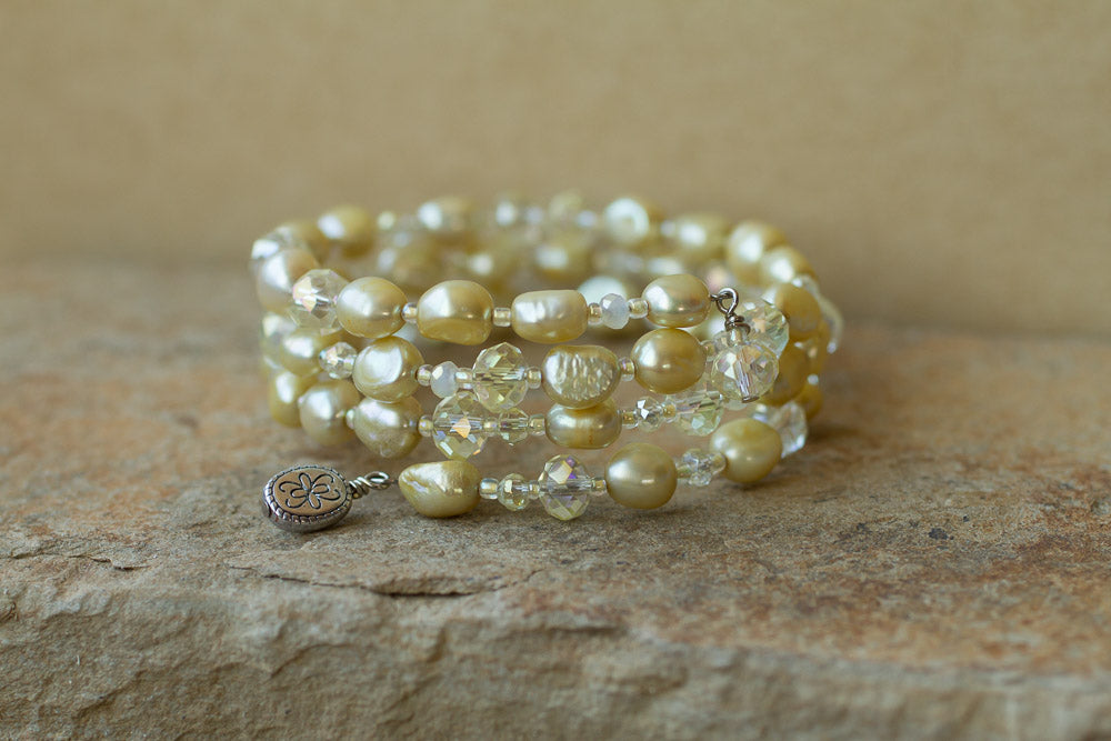 Lemon / Yellow Faux Pearl and Crystal Memory Wire Beaded Bracelet