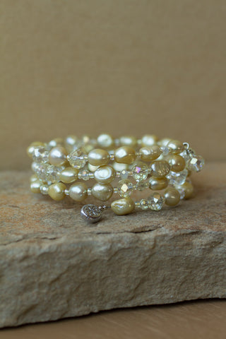 Lemon / Yellow Faux Pearl and Crystal Memory Wire Bracelet