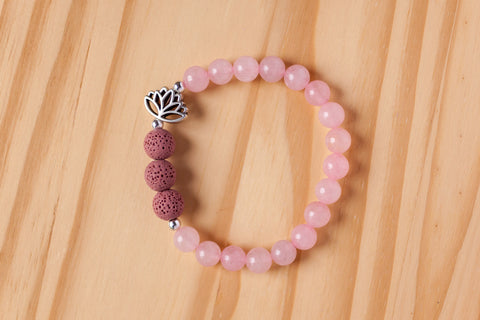 Custom Pink Jade Aromatherapy Bracelet with Lotus Flower