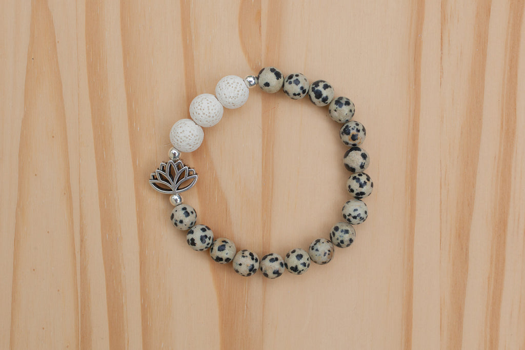 Essential Oil Diffuser Aromatherapy Dalmatian Jasper Stretchy Bracelet with Lotus Flower