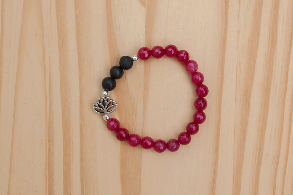 Essential Oil Diffuser Aromatherapy Red Agate Stretch Bracelet with Lotus Flower