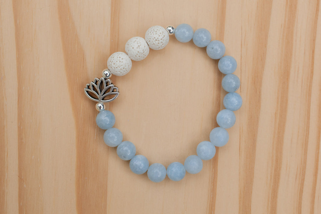 Essential Oils Diffuser Aromatherapy Angelite Stretchy Bracelet with Lotus Flower