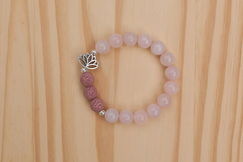 Essential Oil Diffuser Aromatherapy Rose Quartz Stretchy Bracelet with Lotus Flower