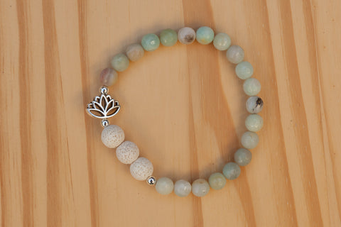 Essential Oil Diffuser Aromatherapy Amazonite Stretchy Bracelet with Lotus Flower CUSTOM