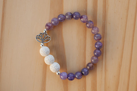 Essential Oil Diffuser Aromatherapy Purple Dragon Vein Agate Stretchy Bracelet