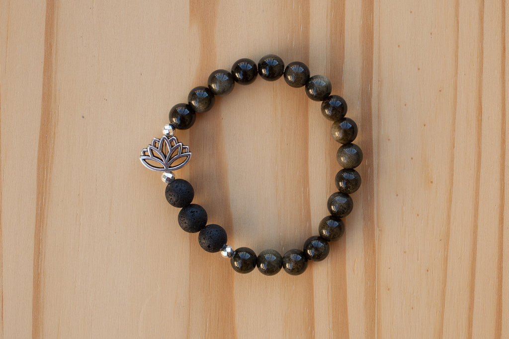 Essential Oil Diffuser Aromatherapy Obsidian Beaded Stretchy Bracelet with Lotus Flower