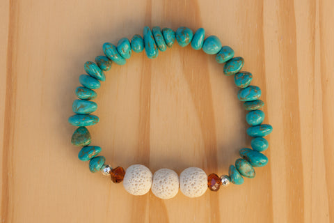 Essential Oil Diffuser Aromatherapy Turquoise Beaded Stretchy Bracelet