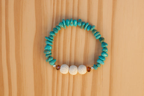 Essential Oil Diffuser Aromatherapy Turquoise Chip Bead Beaded Stretchy Bracelet