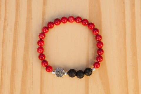Essential Oil Diffuser Aromatherapy Beaded Red Coral Stretchy Bracelet