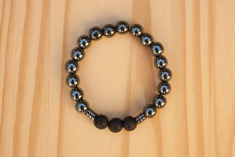 Essential Oil Diffuser Aromatherapy Beaded Hematite Stretchy Bracelet Mens/Unisex